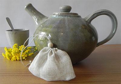 Sachet de thé en lin réutilisable